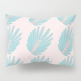 Turquoise Twice-Pinnated Leaves Pattern Pillow Sham
