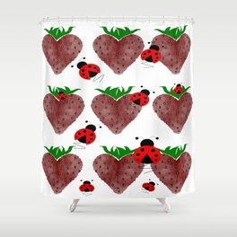 Strawberries And Ladybugs Shower Curtain