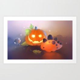 Pumpkin Dino Art Print