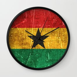 Vintage Aged and Scratched Ghana Flag Wall Clock