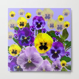 SPRING PURPLE & YELLOW PANSY FLOWERS Metal Print
