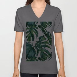 Classic Palm Leaves Tropical Jungle Green Unisex V-Ausschnitt