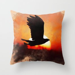 Eagle Fly Throw Pillow