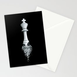 Farewell to the Pale King / 3D render of chess king breaking apart Stationery Cards