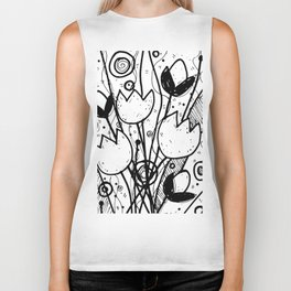 Scribble Doodle Flowers No.2A by Kathy Morton Stanion Biker Tank