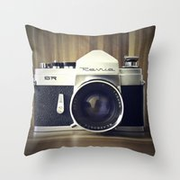 old school Throw Pillows featuring Old School by Jessica Gullasch