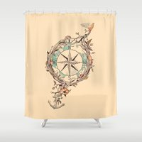 orange Shower Curtains featuring Bon Voyage by Norman Duenas