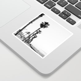 Playa de Valencia | Black and white photograph of the boulevard & beach | travel art Sticker
