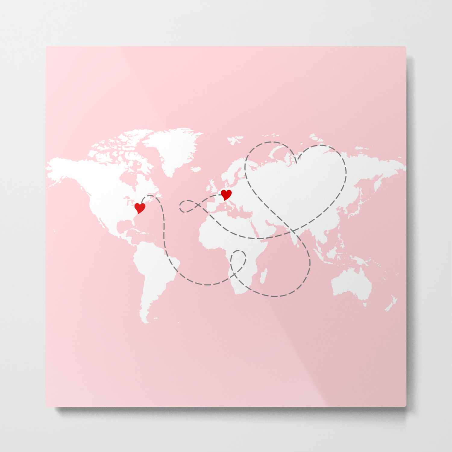 World Map in Pink - USA to Europe - New York to Germany Metal Print