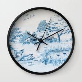 Farmhouse Toile Wall Clock
