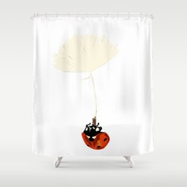 Ladybird in the air Shower Curtain