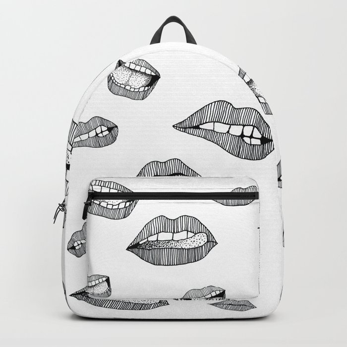 Lips. Black and white drawing. Backpack