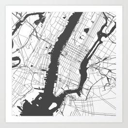 New York City White on Gray Street Map Art Print