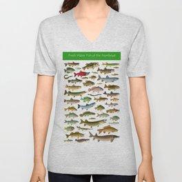 Illustrated Northeast Game Fish Identification Chart Unisex V-Neck