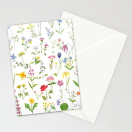 botanical colorful countryside wildflowers watercolor painting Stationery Cards