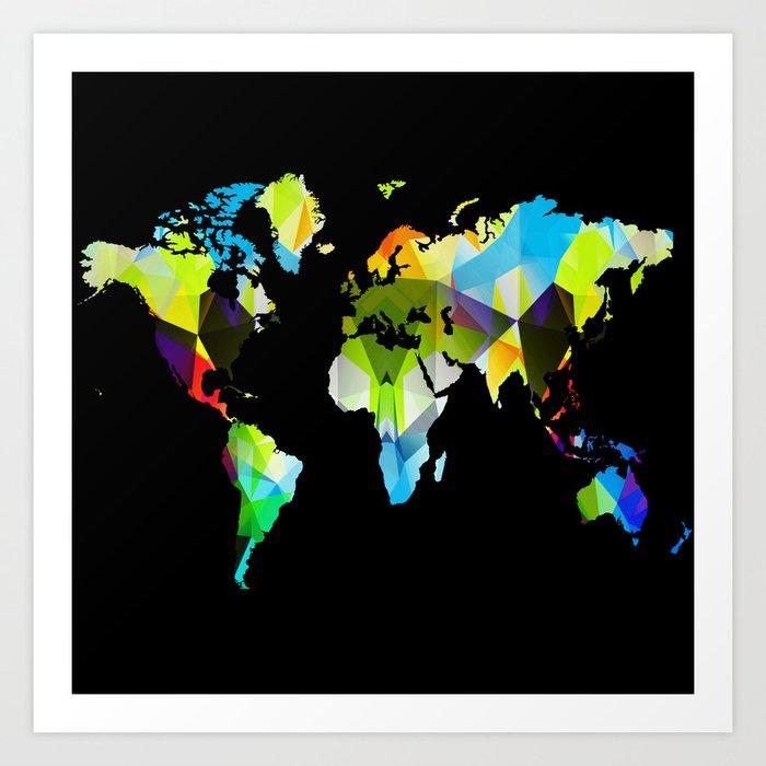 Colorful World Map Art.Colorful World Map Art Print By Haroulita Society6