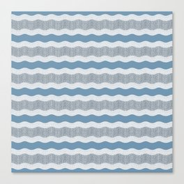 Wavy River in Blue and Gray 1 Canvas Print
