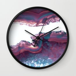Double Light Blue and Pink Agate Wall Clock