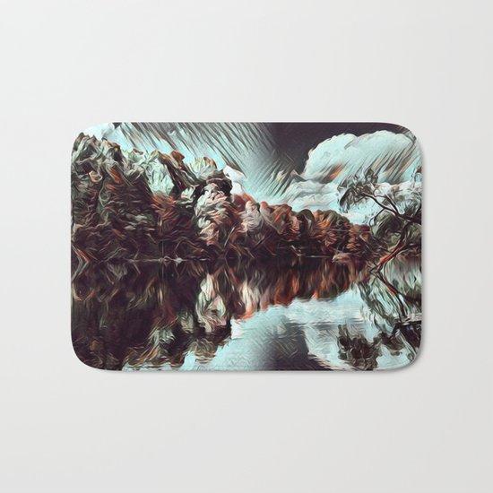 Dark & Eerie Forest on the River (Black & White) Bath Mat
