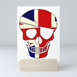 Union Jack Skull Silhouette With Eye Patch Mini Art Print