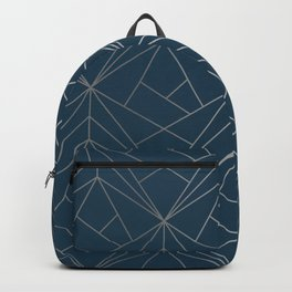 Benjamin Moore Hidden Sapphire Silver Geometric Pattern With White Shimmer Backpack