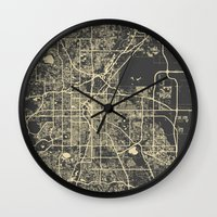 denver Wall Clocks featuring Denver map by Map Map Maps