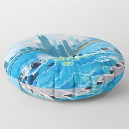 City on the Lake Floor Pillow