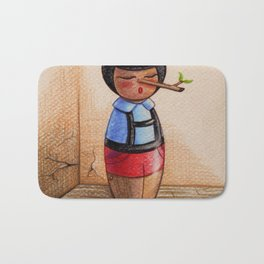 Kokeshi Pinocchio and the Cricket Bath Mat