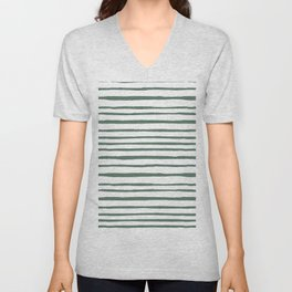 Pastel green hand painted watercolor stripes Unisex V-Neck