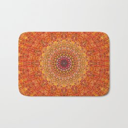 Red Burst Mandala 0118 Bath Mat