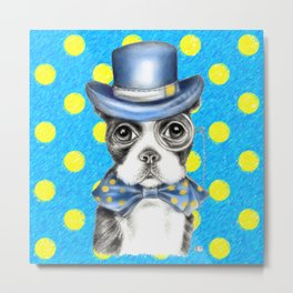 Boston Terrier Polka Dot Metal Print