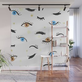 Beauty Eyes and Eye Lashes Pattern Wall Mural