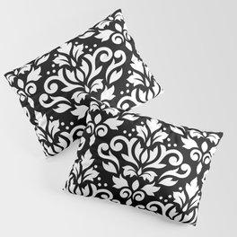 Scroll Damask Large Pattern White on Black Pillow Sham
