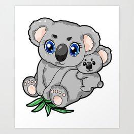 Koala Mum and Child Son Daughter Mom Love Present Art Print