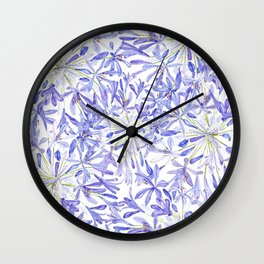 blue purple African lily watercolor painting Wall Clock
