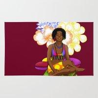 hippie Area & Throw Rugs featuring Hippie Chick by Kivitasku Designs