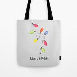 Merry & Bright Christmas lights on graphite gray Tote Bag