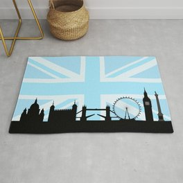 London Sites Skyline and Blue Union Jack/Flag Rug