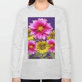 PURPLE DAHLIAS YELLOW SUNFLOWERS ART Long Sleeve T-shirt