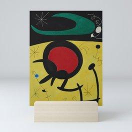 Joan Miro Vol Doiseaux, 1968, Flight of Birds Encircling the 3 Haired Woman on a Moon, Artwork, Prin Mini Art Print
