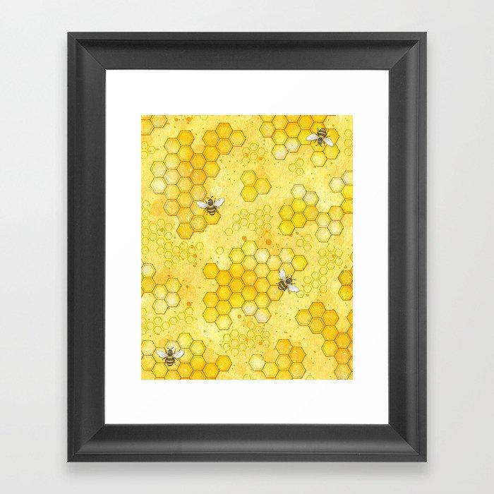 Meant to Bee - Honey Bees Pattern Gerahmter Kunstdruck