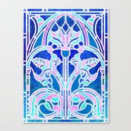 Art Nouveau Blue and Pink Batik Texture Canvas Print