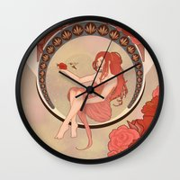 art nouveau Wall Clocks featuring Art Nouveau by Takanik