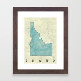 Idaho State Map Blue Vintage Framed Art Print
