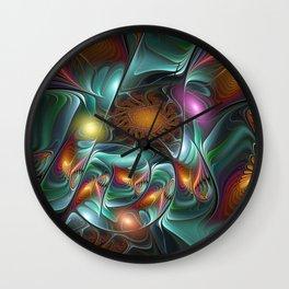 Luminous And Colorful, Abstract Fractal Art Wall Clock