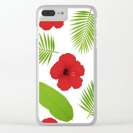Red hibiscus and palm leaves seamless pattern. Clear iPhone Case