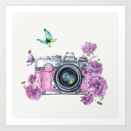 Camera with Summer Flowers 2 Art Print