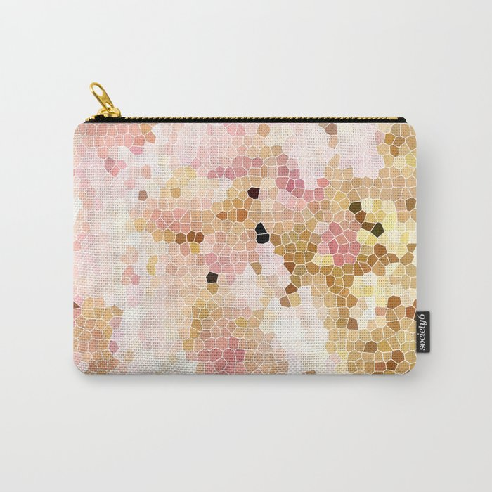 Flower Mosaic Millennial Pink and Golden Yellow Abstract Art   Honey Comb   Geometric Carry-All Pouch
