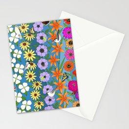 floral on Carolina blue, zinnias dogwoods rudbeckia anemone lilies, butterflies bees & birds Stationery Cards