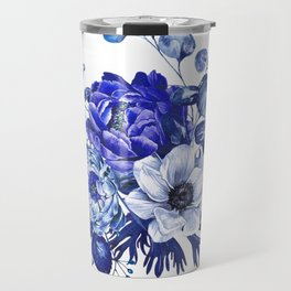 China Blue Porcelain, Asia, Peony, Flower, Floral, Cyan Travel Mug
